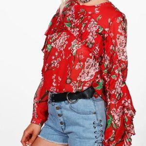 Boohoo Alice Ruffle Sleeve Floral Blouse size 10